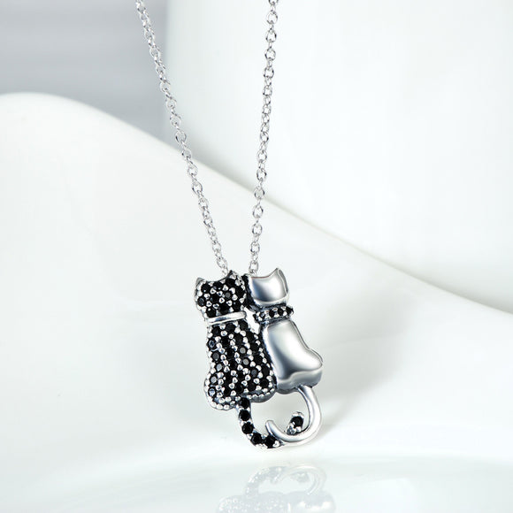 Seven Season Cutie Cat Black Diamond Accent Pendant Necklace