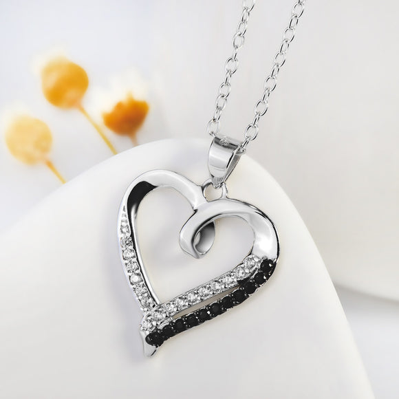 Open Heart with Dichromatic Cubic Zircon Pendant Necklace