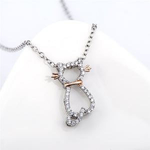 Seven Season Cutie Cat Cubic Zirconia Rose-Gold Plated Pendant Necklace