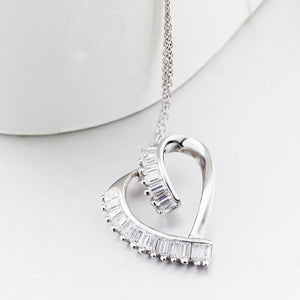 Unique Open Heart with Rectangle Crystal Inlaid Pendant Necklace