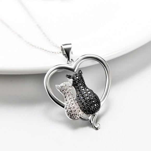 Seven Season Cutie Cat Cubic Zirconia Heart Pendant Necklace