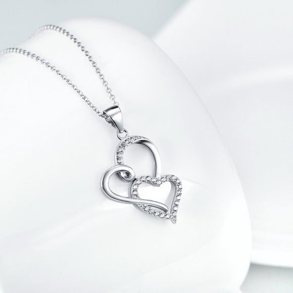 Two Hearts Together Pendant Necklace