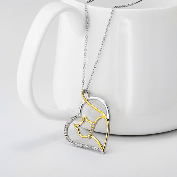 Seven Season Cutie Cat Gold-Plated Sterling Silver Heart Pendant Necklace