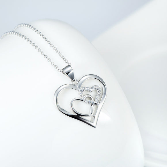 Open Heart with Pave Cubic Zircon Pendant Necklace