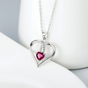 Open Heart with Ruby Pendant Necklace