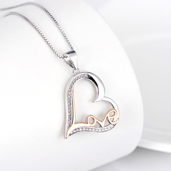 Open Heart and Graffiti Love Pendant Necklace