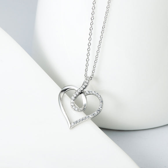 Open Heart and Infinity with Pave Cubic Zircon Pendant Necklace