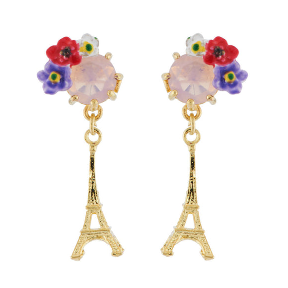 Les Néréides Eiffel Tower and Flowery Faceted Crystal Earrings-Seven Season