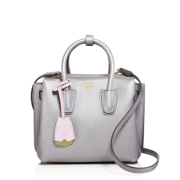 MCM Milla Mini Leather Silver Metallic Tote Bag-Seven Season