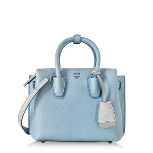 MCM Milla Mini Leather Sky Blue Tote Bag-Seven Season