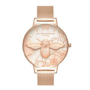 Olivia Burton 3D Bee Abstract Florals Dial Rose Gold Mesh Watch-Seven Season