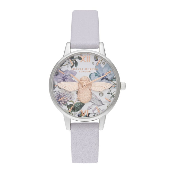 Olivia Burton 3D Bee Bejewelled Florals Parma Violet Midi Dial Rose Gold and Silver Watch-Seven Season