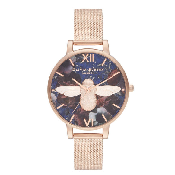 Olivia Burton 3D Bee Big Dial Lapis Lazuli and Rose Gold Boucle Mesh Watch-Seven Season