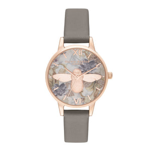 Olivia Burton 3D Bee Marble-Effect Printed Midi Dial Vegan London Grey and Rose Gold Watch-Seven Season