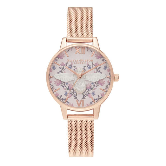 Olivia Burton 3D Bee Meant to Bee Blush Dial Silver and Rose Gold Mesh Watch-Seven Season