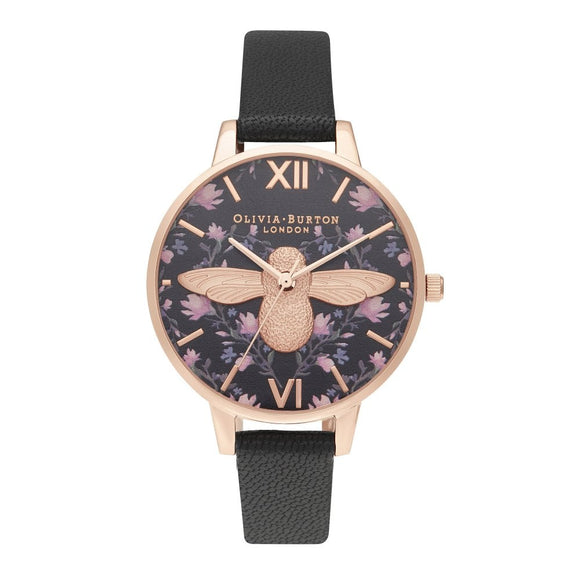 Olivia Burton 3D Bee Meant to Bee Demi Dial Black and Rose Gold Watch-Seven Season