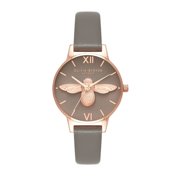 Olivia Burton 3D Bee Midi Dial London Grey and Rose Gold Watch-Seven Season