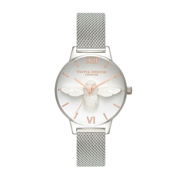 Olivia Burton 3D Bee Midi Dial Rose Gold and Silver Mesh Watch-Seven Season