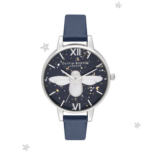 Olivia Burton 3D Bee Midnight Demi Dial Navy and Silver Watch-Seven Season
