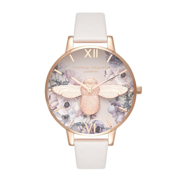 Olivia Burton 3D Bee Watercolor Floral Dial Blush and Rose Gold Watch-Seven Season