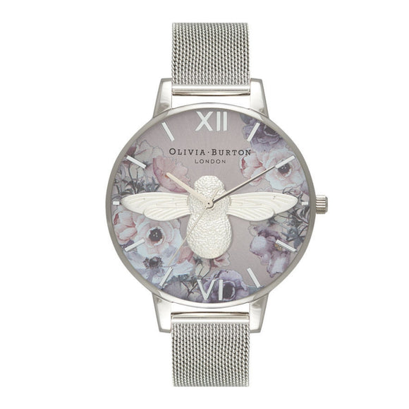 Olivia Burton 3D Bee Watercolor Florals Dial Silver Mesh Watch-Seven Season