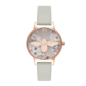 Olivia Burton 3D Bee Watercolor Florals Midi Dial Grey and Rose Gold Watch-Seven Season