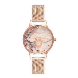 Olivia Burton 3D Bee Watercolor Florals Midi Dial Rose Gold Mesh Watch-Seven Season