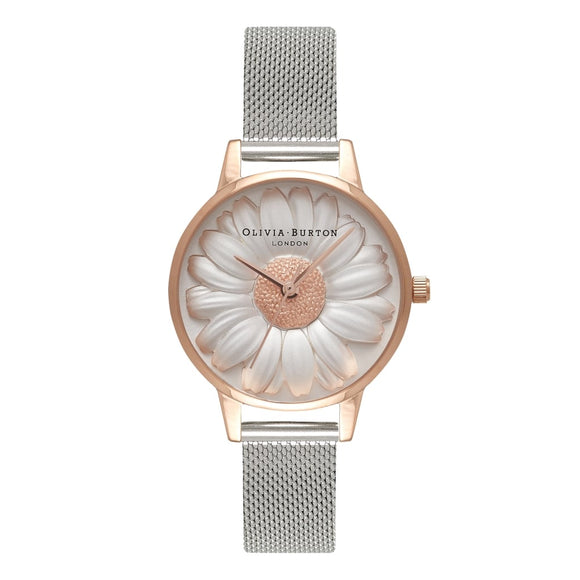 Olivia Burton 3D Daisy Midi Dial Rose Gold and Silver Mesh Watch-Seven Season