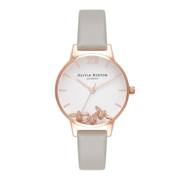 Olivia Burton Busy Bees Grey and Rose Gold Watch-Seven Season