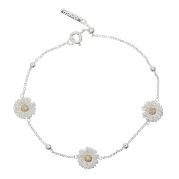 Olivia Burton Daisy and Ball Silver and Gold Chain Bracelet-Seven Season