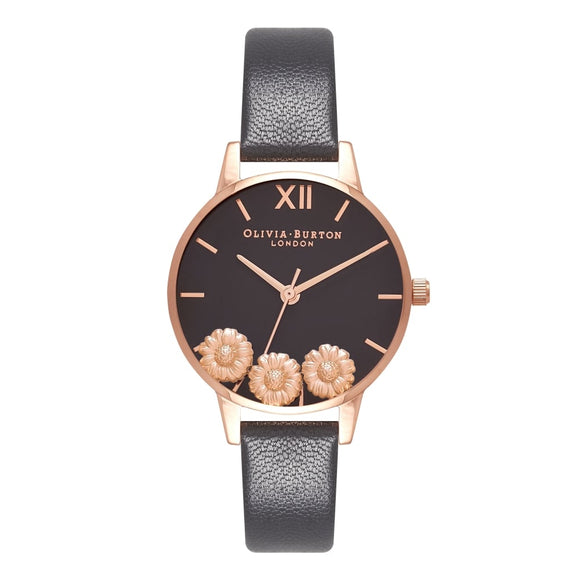 Olivia Burton Dancing Daisy Midi Dial Black and Rose Gold Watch-Seven Season