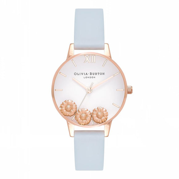 Olivia Burton Dancing Daisy Midi Dial Chalk Blue and Rose Gold Watch-Seven Season