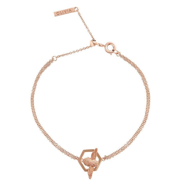 Olivia Burton Honeycomb Bee Rose Gold Chain Bracelet-Seven Season