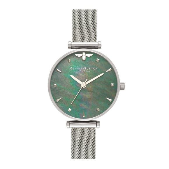 Olivia Burton Queen Bee Blue Mother of Pearl Dial Silver Mesh Watch-Seven Season