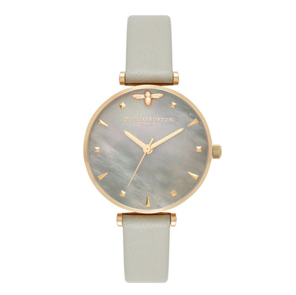 Olivia Burton Queen Bee Grey Mother of Pearl Dial Grey and Gold Watch-Seven Season