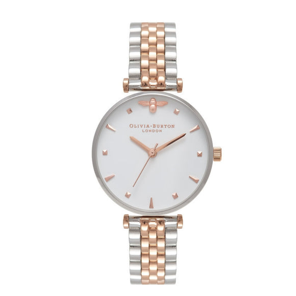 Olivia Burton Queen Bee Midi Dial Silver and Rose Gold T-Bar Bracelet Watch-Seven Season