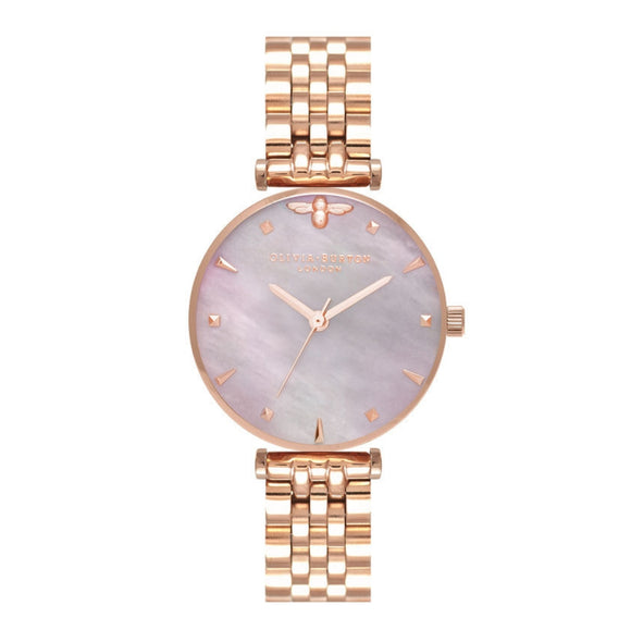 Olivia Burton Queen Bee Pink Mother of Pearl Dial Rose Gold Bracelet Watch-Seven Season