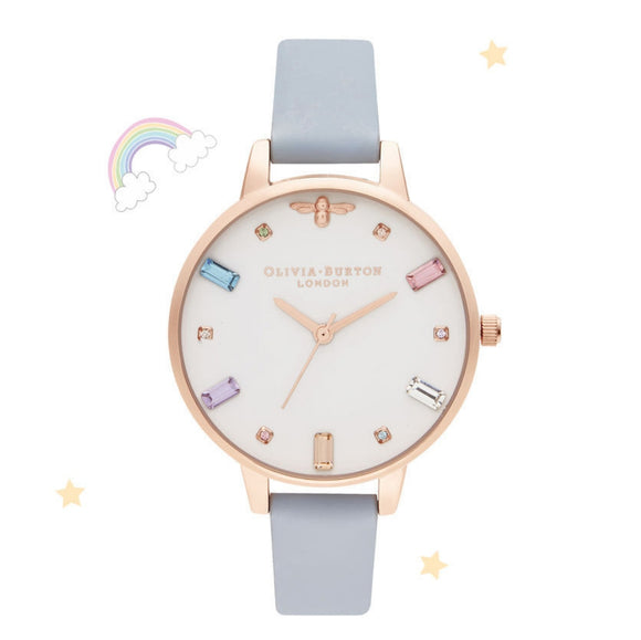 Olivia Burton Rainbow Bee Demi Dial Chalk Blue and Rose Gold Watch-Seven Season