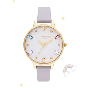 Olivia Burton Rainbow Bee Demi Dial Parma Violet and Gold Watch-Seven Season