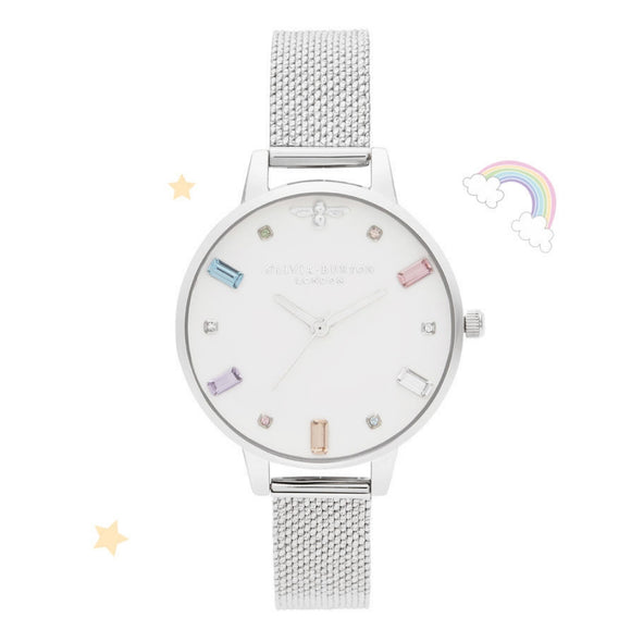 Olivia Burton Rainbow Bee Demi Dial Silver Boucle Mesh Watch-Seven Season