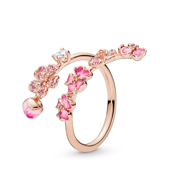 Pandora Peach Blossom Flower Branch Ring-Seven Season