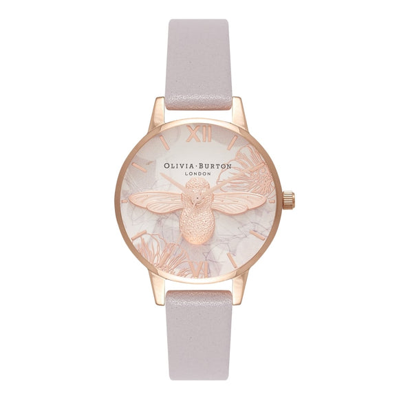 Seven Season 3D Bee Abstract Florals Midi Dial Grey Lilac and Rose Gold Watch