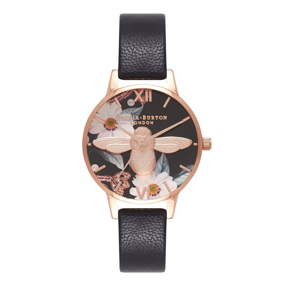 Seven Season 3D Bee Bejewelled Florals Midi Dial Black and Rose Gold Watch