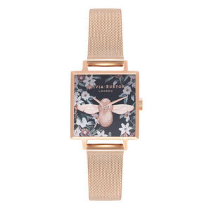 Seven Season 3D Bee Bejewelled Florals Square Dial Rose Gold Mesh Watch