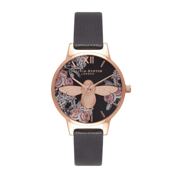 Seven Season 3D Bee Botanical Midi Dial Black and Rose Gold Watch