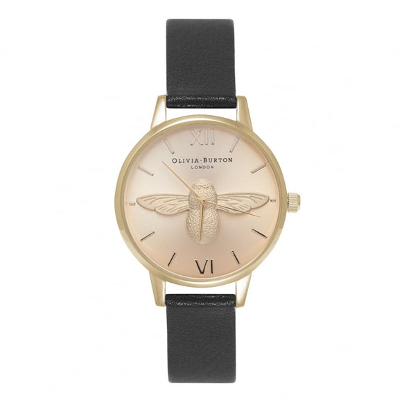 Seven Season 3D Bee Midi Black Dial Black and Gold Watc