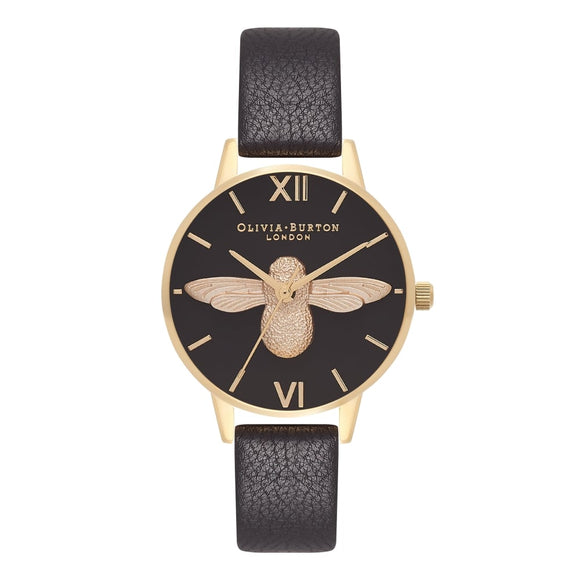 Seven Season 3D Bee Midi Dial Black and Gold Watch