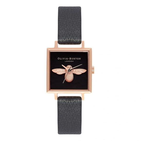 Seven Season 3D Bee Square Dial Black and Rose Gold Watch