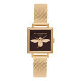 Seven Season 3D Bee Square Dial Gold Mesh Watch