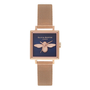 Seven Season 3D Bee Square Dial Midnight and Rose Gold Mesh Watch